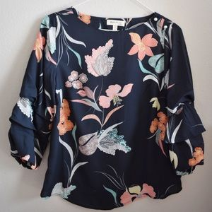 Monteau Navy Floral Tiered Ruffle Sleeve Top